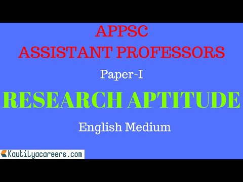 RESEARCH APTITUDE FOR APPSC ASSISTANT PROFESSORS