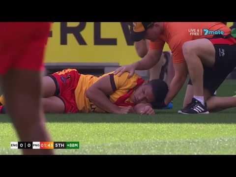 Luke Gale DESTROYS David Mead with brutal shoulder bump off. [England vs PNG '17]