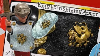 TODDLER KID PLAYS DRESS UP! RYAN'S ROOM KNIGHT IN SHINING ARMOR SET! SWORD & SHIELD! PRETEND PLAY!