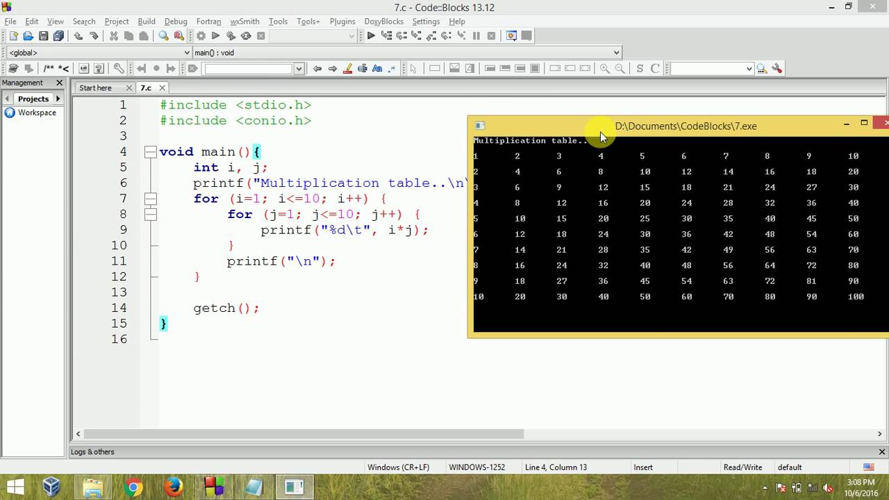 C programming multiplication table using nested for loop youtube gamestrikefo Choice Image
