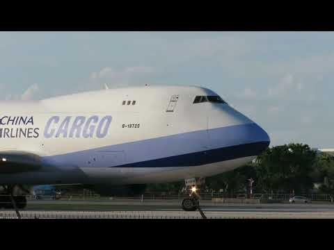 China Airlines Cargo Boeing 747-400F Departing Miami [HD] - November 4, 2017