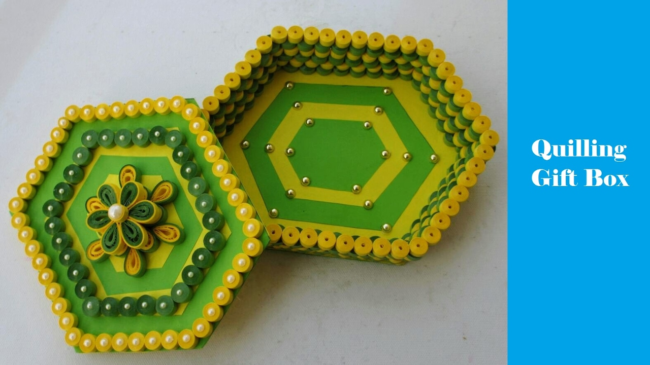 How To Make Paper Quilling Gift Box:  Green-Yellow ,Design