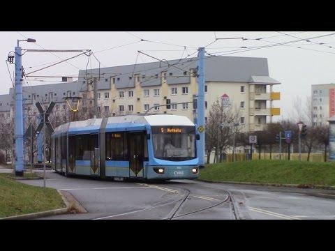 Straßenbahn Chemnitz Tram Route 5 Hutholz - Gablenz Adtranz Variobahn