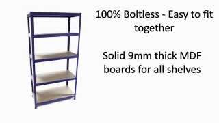 90cm T-rax Racking / Shelving Storage Bay - Blue