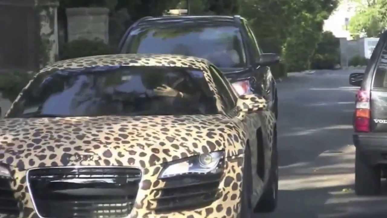 Justin Bieber's Leopard Print Audi R8 - YouTube