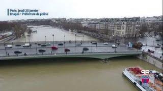 Crue à Paris : de nouvelles images par drone montrent l'ampleur des inondations