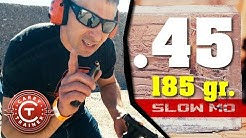 45 ACP on Ballistics Gel with Slow Motion - Super Vel 185 gr. JHP
