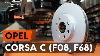 Hvordan bytte foran bremseskiver der på OPEL CORSA C (F08, F68) [AUTODOC-VIDEOLEKSJONER]