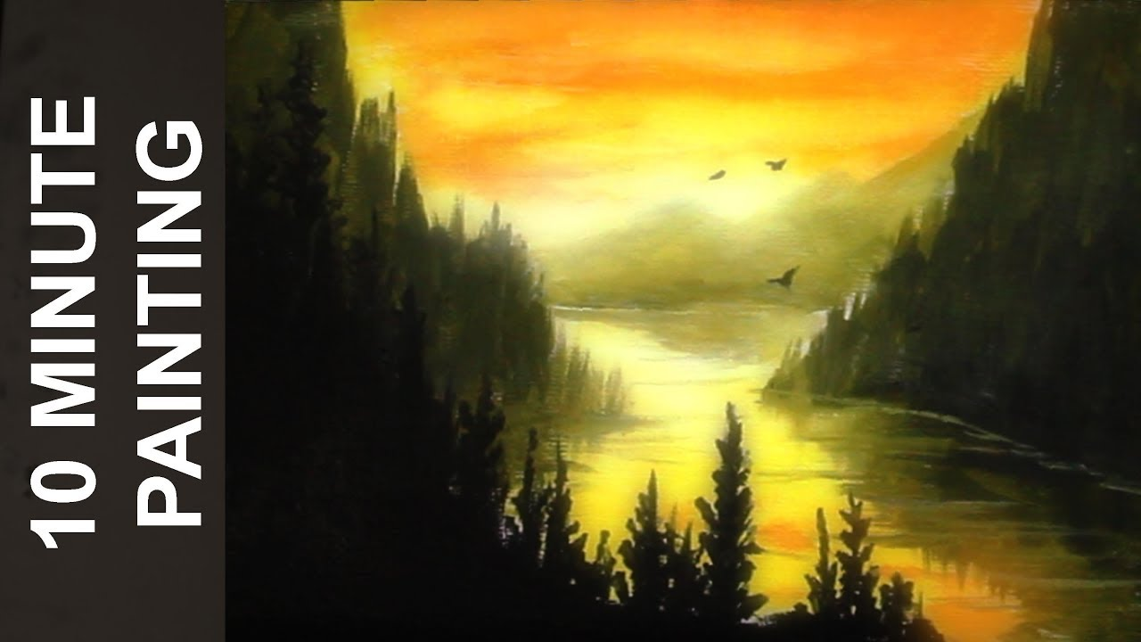 ffd06c977 Painting a Forest Valley Sunset with Acrylics in 10 Minutes! - YouTube