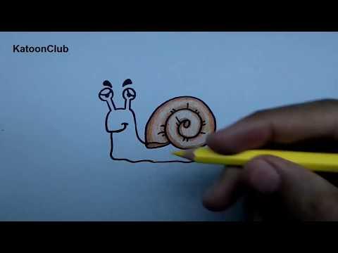 หอยทาก สอนวาดรูปการ์ตูนน่ารักง่ายๆ ระบายสี How to Draw Snail Cartoon Easy Step by Step