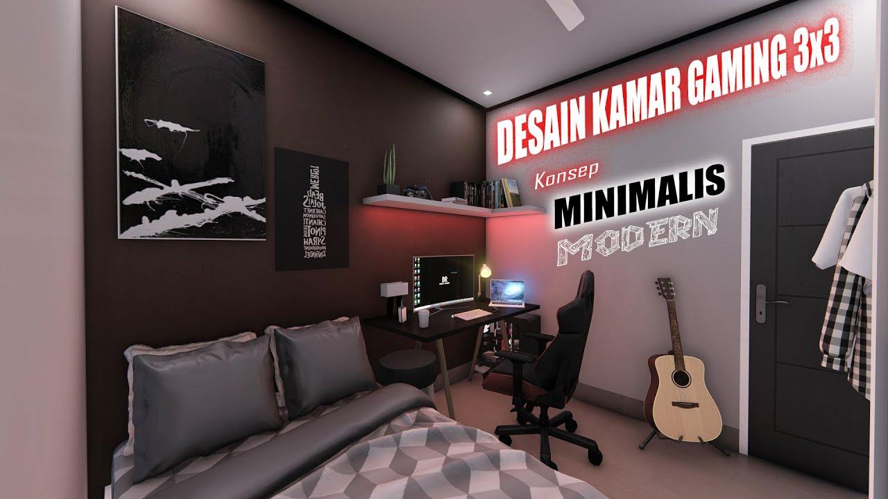 """Desain kamar GAMING """"5x5"""" Konsep Minimalis Modern"""