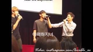 [eng sub] 150716 Bucheon Fansign - SUHO & BAEKHYUN praising Sweetheart CHEN