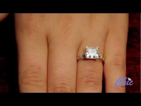 1.5 Princess Cut Engagement Ring in Solid Platinum