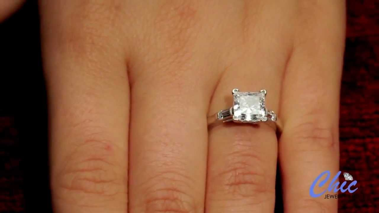 1.5 princess cut engagement ring in solid platinum- item P585-7004 - YouTube 2df979cb8