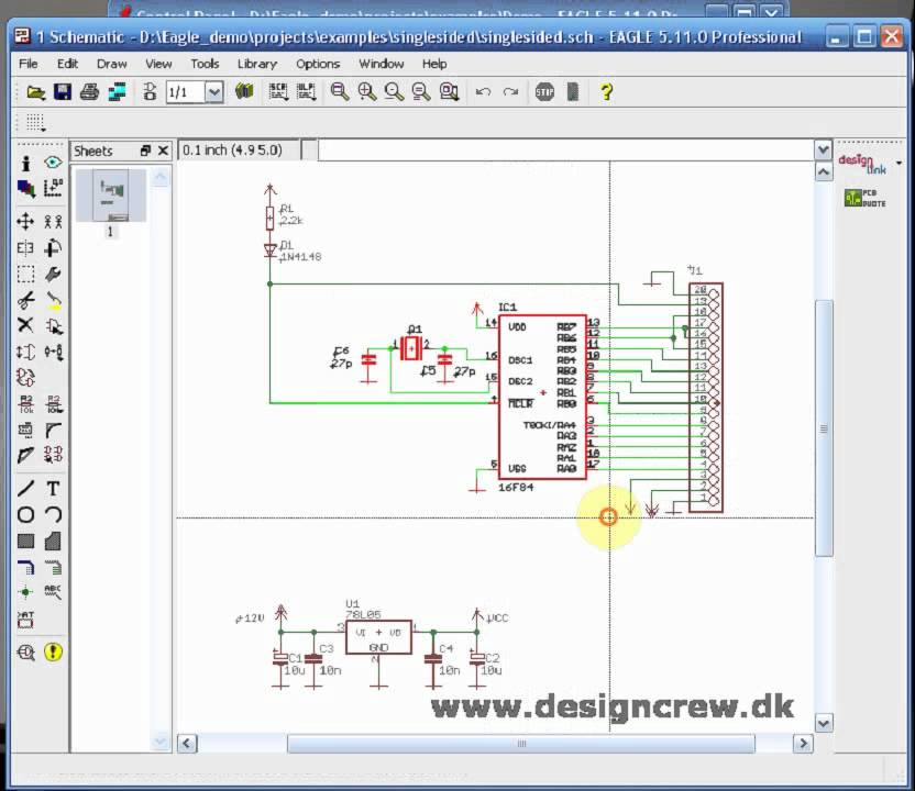 Cadsoft Eagle, Copy paste of schematic, Tutorial Lesson 2