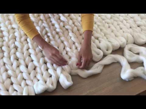 DIY Tutoriel: tricoter une couverture XXL avec les mains en laine merinos ComfyWool