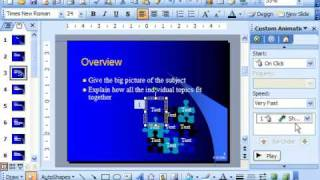powerPoint 2003 Tutorial Adding Custom Animation Microsoft Training Lesson 18.4