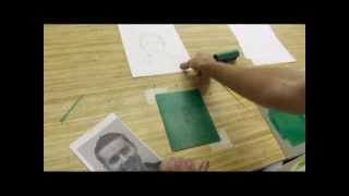 mr wilson teaches monoprint self portraits