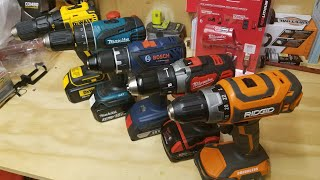 Milwaukee vs. DeWalt vs. Makita vs.Bosch vs.Ridgid.. Best Budget Drill/Drivers Under $100 ..LIVE !!
