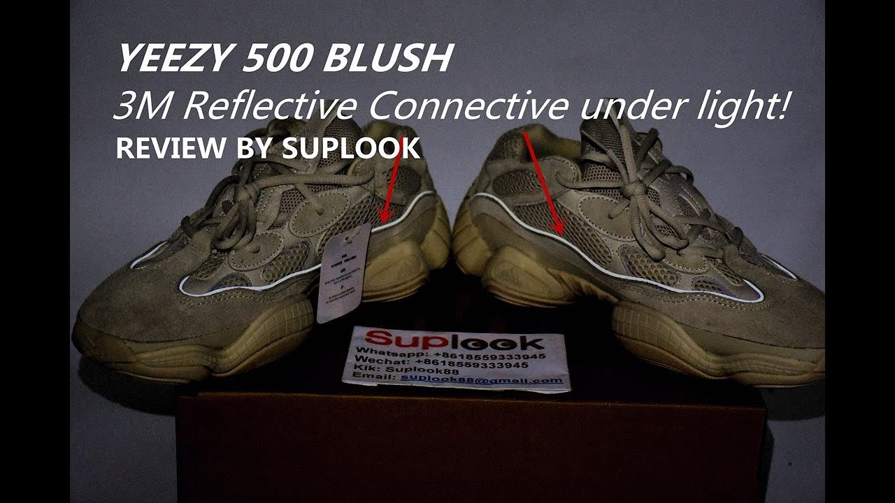 9f5bec64 YEEZY 500 BLUSH REVIEW+3M REFLECTIVE +UV light Test from SUPLOOK ...