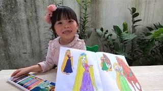 Đồ chơi trẻ em _ Bé tâp tô màu hình Cô Công Chúa Tóc Mây thật xinh đẹp _ Bim Bim Channel