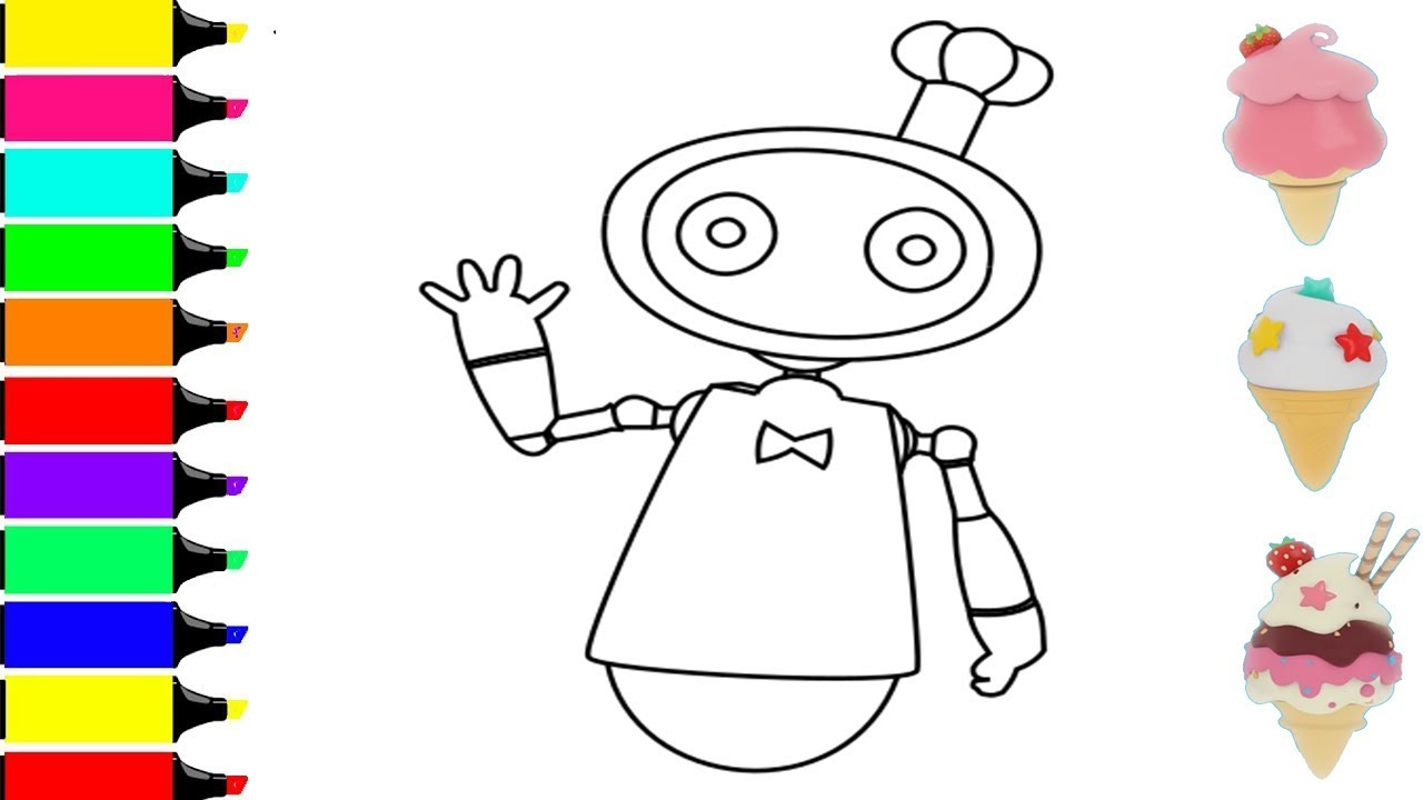 Babybus Coloring Pages Cool Robot Vending Machine Babybus