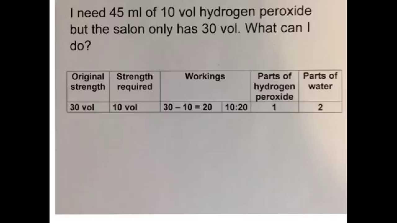 45 Ml Of 10 Vol Hydrogen Peroxide Q & A Tet