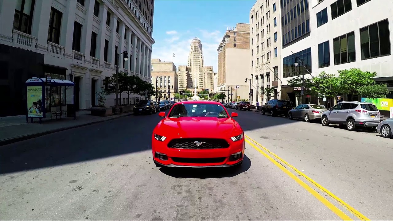 A mustang drive in downtown Buffalo NY