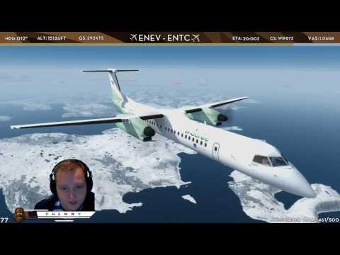 [P3D] Steep Glideslope Landing into RWY 19 at Tromsø |  Widerøe Dash-8 Q400