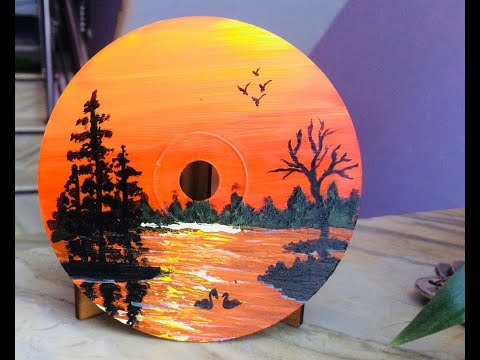 DIY CD Acrylic Painting/Painting tutorial #34/Acrylic landscape painting/ Best out waste/Esay&simple