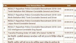 Rajasthan Police Result