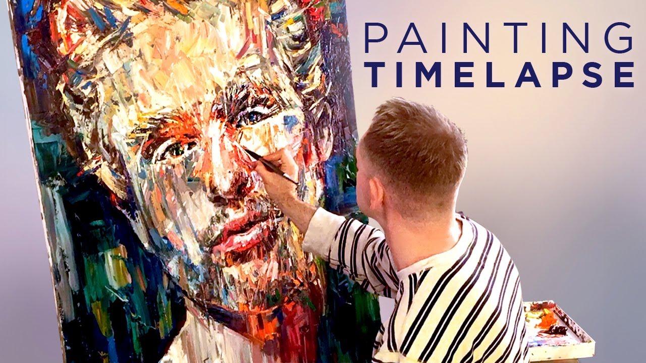 time lapse expressive oil painting male portrait studio sneak peek