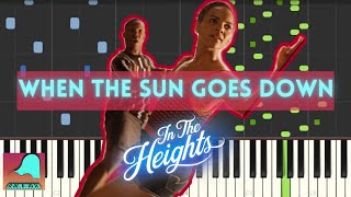 When The Sun Goes Down - In The Heights Piano Tutorial Accompaniment (Synthesia)