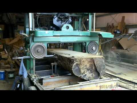 Homemade sawmill cutting large Hackberry log 2019 March 1