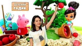 Фото Принцесса Нелла и свинка Пеппа сажают деревья. Видео для детей   Детский садик для игрушек