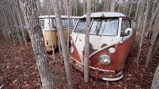 1971 Volkswagen Bus FOUND In The Woods - TREASURE HUNTING CLASSIC CARS!