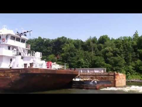 Passing a Barge   Grand Rivers Kentucky, On the Boat with Larry
