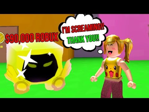 I Gave Her The Golden Dominus Pet And She Screamed Roblox Pet