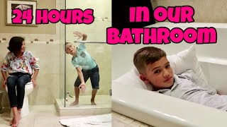 24 HOURS in our BATHROOM! Who will last the Longest?! thumbnail