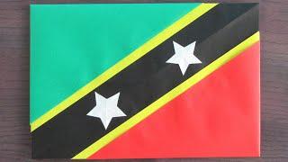 【折り紙】セントクリストファー・ネイビスの国旗【origami】Flag of Saint Kitts and Nevis