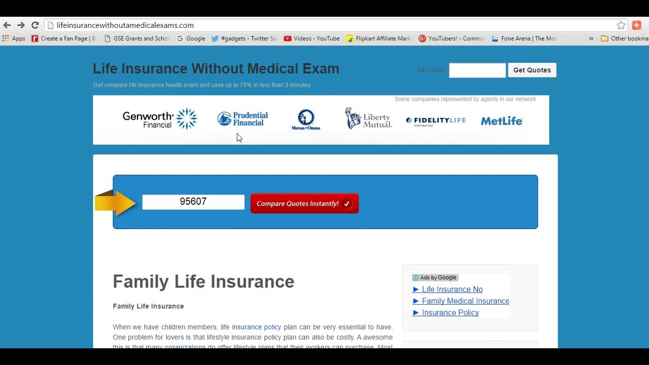 No Exam Life Insurance Quotes Life Insurance Without A Medical Exams  Best Top Companies  Youtube