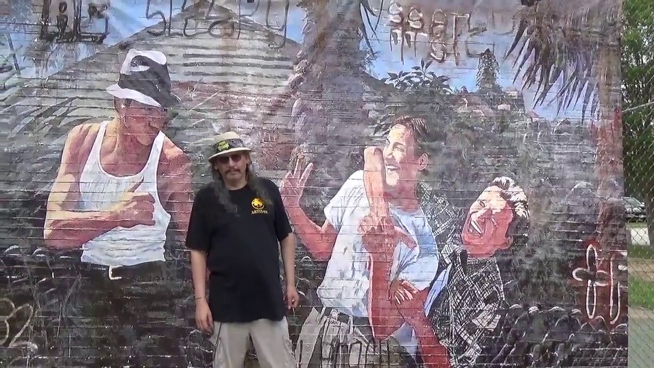 The wall mural from blood in blood out is on tour for Blood in blood out mural