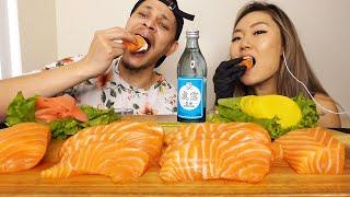 ASMR MUKBANG Salmon Sashimi + …
