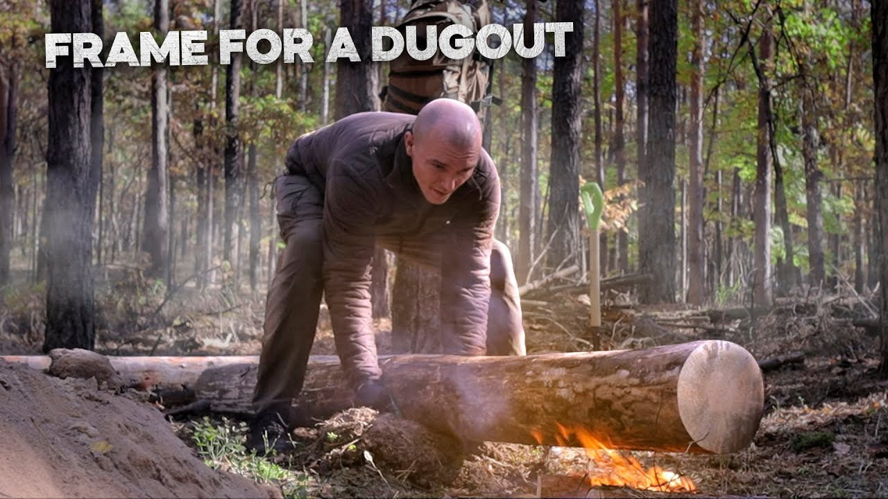 Dugout building: scorched the logs, Bushcraft shelter build, shelter in forest