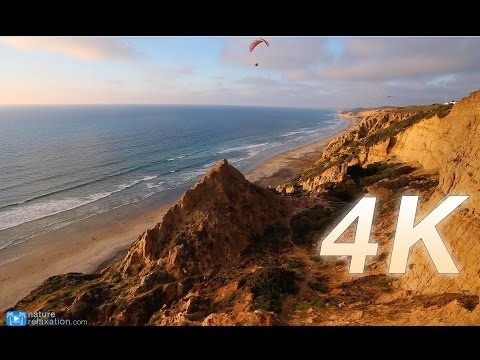 """1 HR 4K Nature Video: """"Coastal Paragliders at Sunset"""" Relaxation Video Canon 1DC"""
