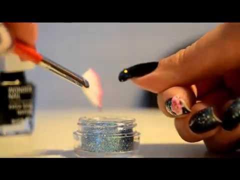 akrylnaglar med glitter
