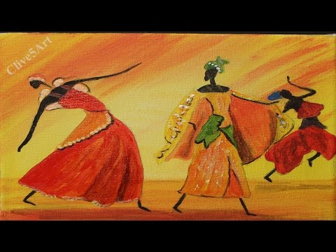 Easy Dancing African Girls, Acrylic painting for beginners,#