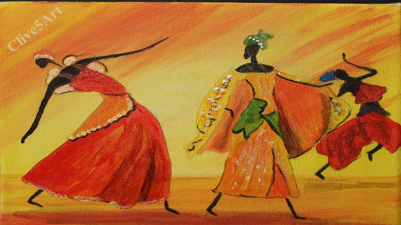 Easy Dancing African Girls Acrylic Painting For Beginnersclive5art