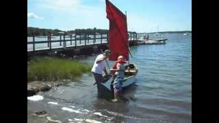"Wheelbarrow Boat - ""irish Pennant"" Wooden Boat  Sails July 2012"