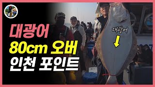 광어다운샷낚시 80cm 대광어 액션 인천포인트[밀루유떼…